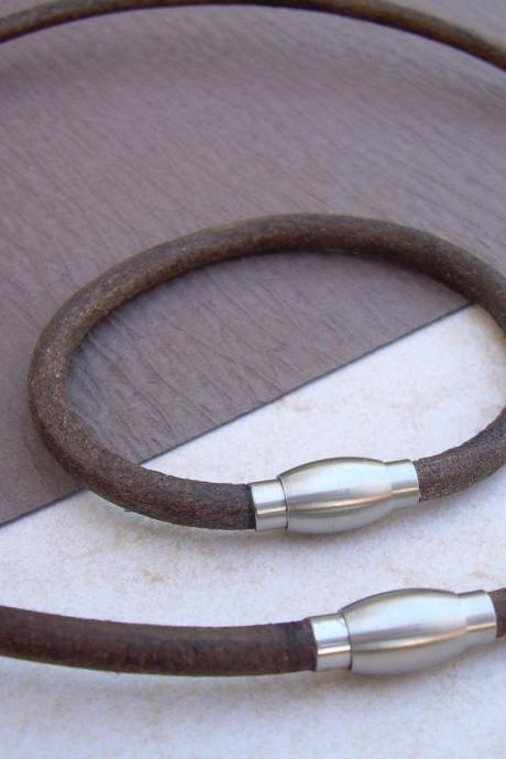 Leather Bracelet and Leather Necklace, Two piece Set, Stainless Steel Magnetic Clasps, Mens, Ant. Brown