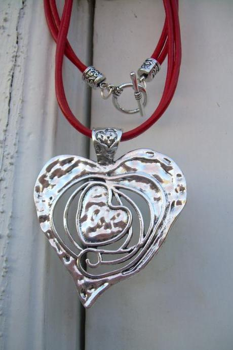 Leather Necklace, Heart Pendant, Red