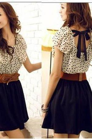 Fashion Women's Polka Dot Chiffon Dress with Belt