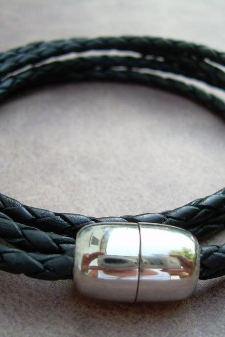 Mens Braided Leather Bracelet - Double Wrap - Double Strand - Black - with Stainless Steel Magnetic Clasp