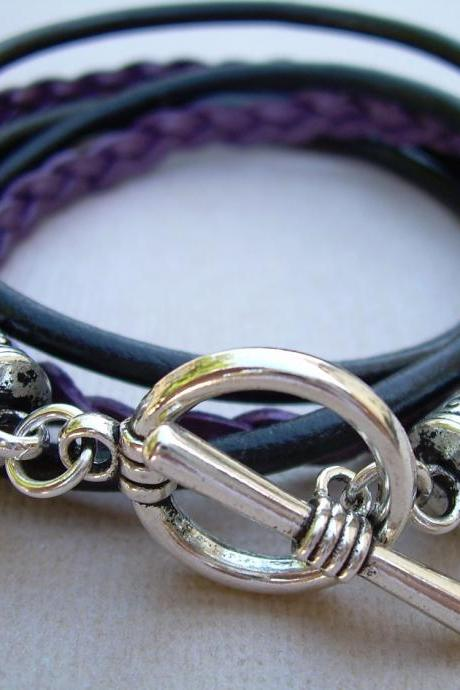 Womens Toggle Closure Metallic Berry and Black Double Wrap Bracelet - Urban Survival Gear USA