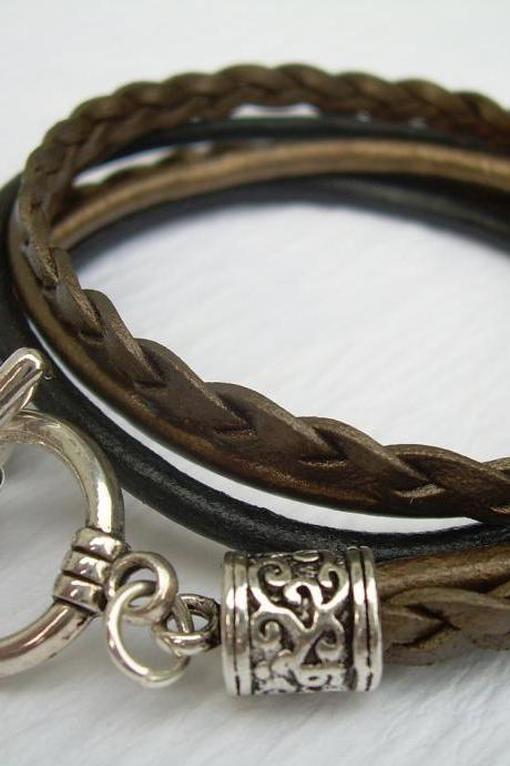 Womens Leather Bracelet , Metallic Gold Bronze and Black, Triple Strand, Double Wrap, Toggle Closure