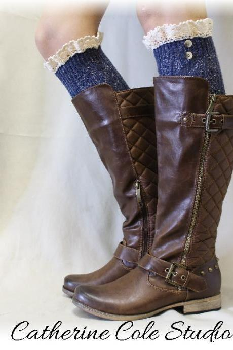 DENIM Nordic Lace Boot Sock -Something special for your tall boots tweed cable knit long over the knee socks w/ 2 buttons, Catherine ColeFrom CatherineColeStudio