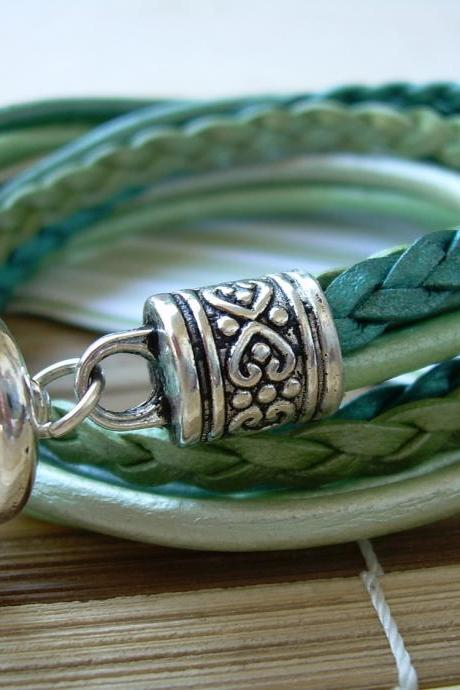 Womens Leather Bracelet, Five Strand, Double Wrap, Metallic Teal and Turquoise