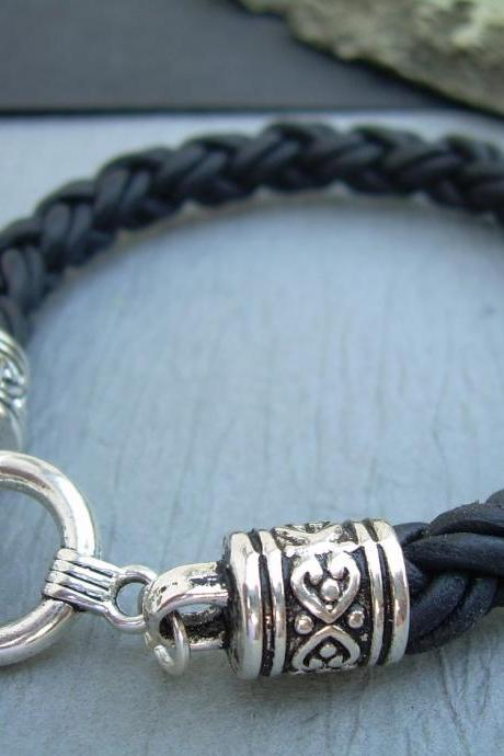 Womens Leather Bracelet, Thick Natural Black Braid, Toggle Clasp