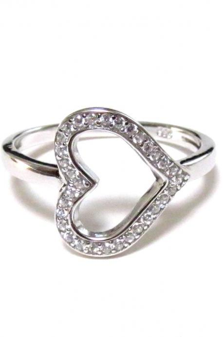 Sideways Heart RIng-Rhodium Over 925 Sterling Silver Ring With CZ-Size 5 to 9