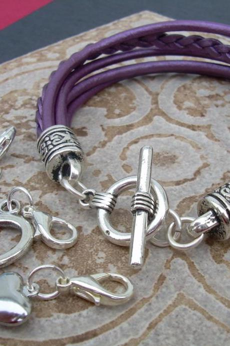 Leather Bracelet With Three Lobster Clasp Heart Charms in Metallic Berry/Purple, Womens Bracelet, Womens Gift, Womens Jewelry