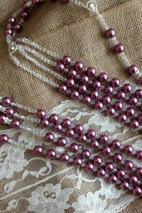 Swarovski Pearls Wedding Lasso Dark Fuchsia
