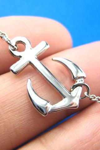 Simple Anchor Nautical Navy Inspired Necklace in Silver