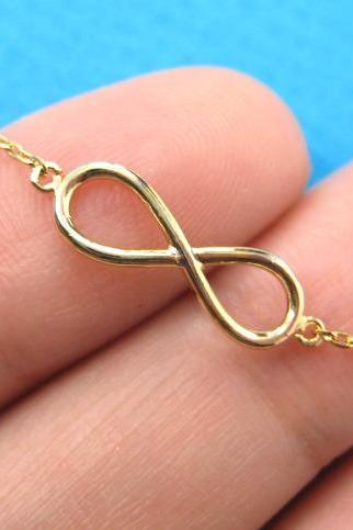 Simple Infinity Loop Outline Promise Friendship Bracelet in Gold Plated Brass
