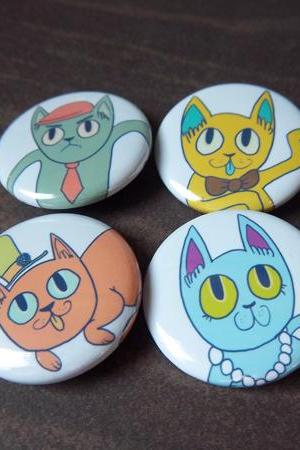 Fancy Cats 4 Button Pack - 1 1/4 Inch Pinback Buttons