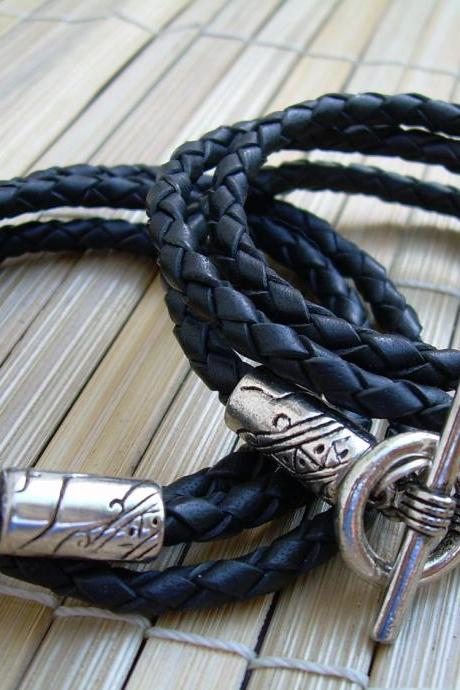 His and Hers Black Braided Leather Bracelets - 2 Pieces - 1 Pair - Triple Wrap -NO CHARGE SHIPPING, Leather Bracelet