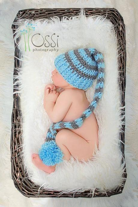 Crochet Long Tail Elf Hat, Baby Boy elf Hat, Newborn Hat, Long Tail Elf Hat