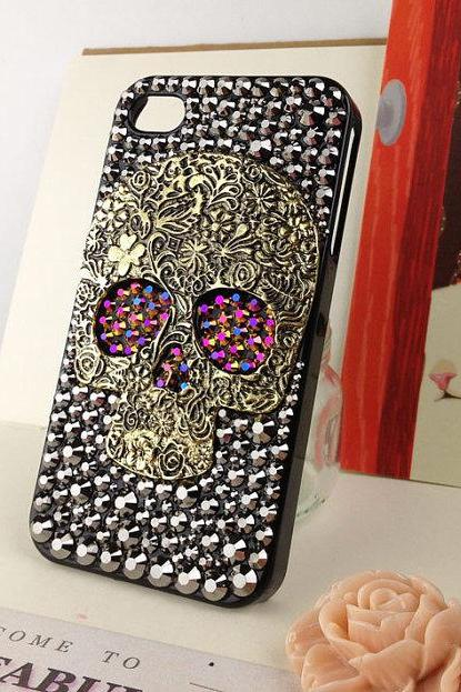 Punk Style Skull iphone 4 case, crystal skull bling iphone 4 case.