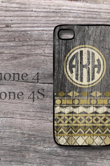 iPhone 4S / 4 Aztec wood print monogrammed snap on hard cover trible design style