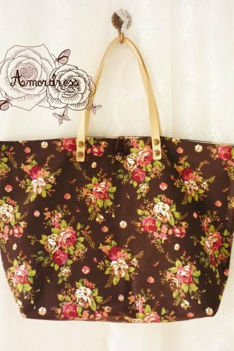 Floral Tote Bag Printed Canvas Bag Genuine Leather Strap Brown with Pink Rose Shabby Chic Bag ...Amor The Inspired Collection...