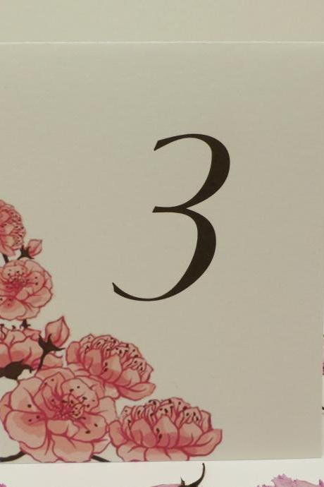Cherry Blossom Table Card Numbers, Wedding Table Tents with Cherry Blossoms