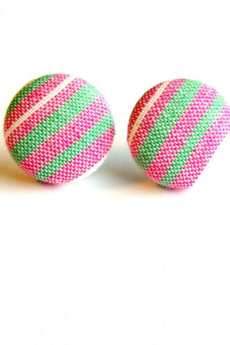 Green, Pink and White Striped Fabric Button Earrings
