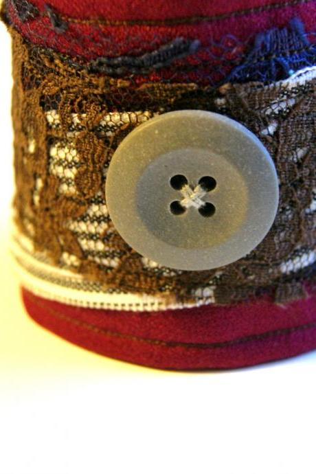 Burgundy and Lace Fabric Button Cuff Bracelet