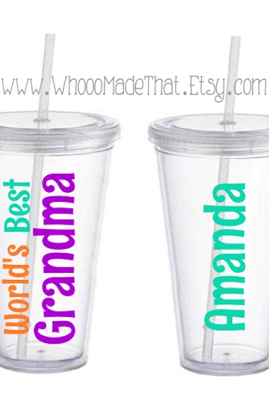 Mother's Day Personalized Tumbler - World's Best Grandma - 16oz acrylic cup with straw - BPA free