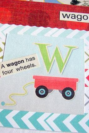 W Is For Wagon Collage - Kids Nursery Childrens Wall Art Decor - Alphabet ABC - A Wagon Has Four Wheels
