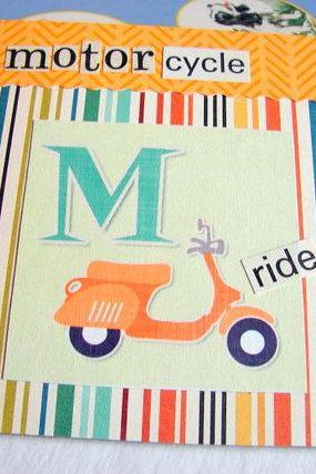 M Is For Motorcycle Collage - Kids Nursery Childrens Wall Art Decor - Alphabet ABC - Ride