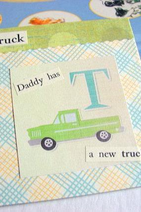 T Is For Truck Collage - Kids Nursery Childrens Wall Art Decor - Alphabet ABC - Daddy Has A New Truck