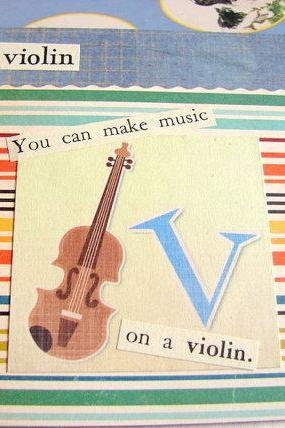 V Is For Violin Collage - Kids Nursery Childrens Wall Art Decor - Alphabet ABC - You Can Make Music On A Violin