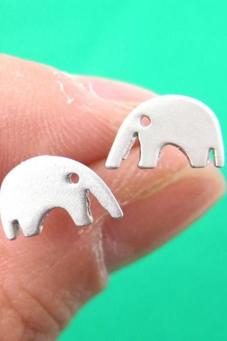 Elephant Animal Stud Earrings in Sterling Silver