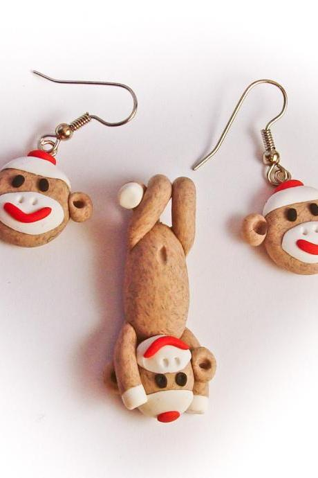 Brown Sock Monkey Pendant and Earring Set in Polymer Clay
