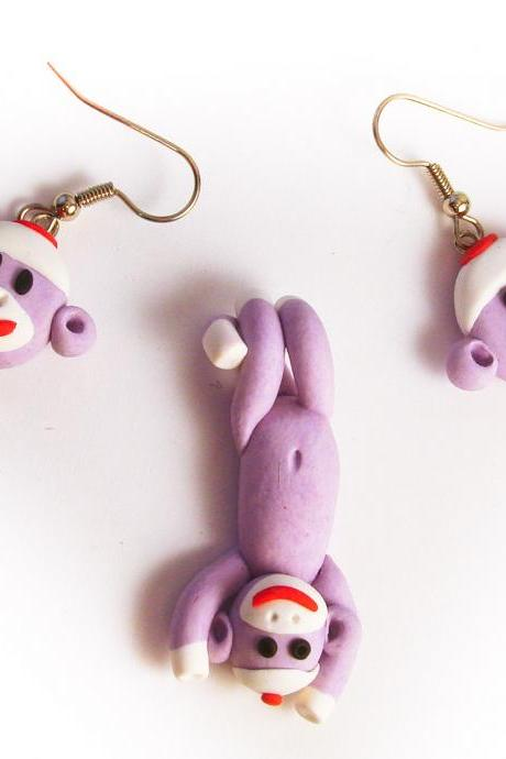 Lavender Sock Monkey Face Earrings and Swinging Pendant Set in Polymer Clay