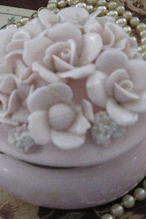 Porcelain Heart Shaped Trinket Box Vintage