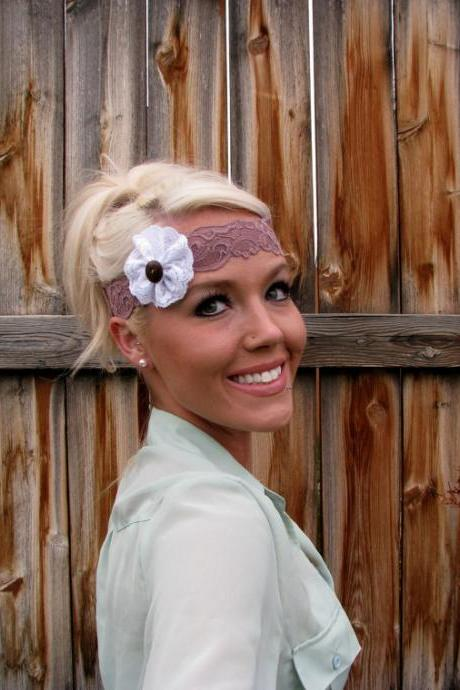 Stretch Lace Headband in Taupe with Lace Flower and Natural Vegan Coconut Shell Button
