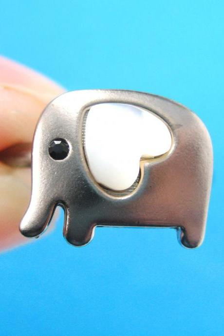 Adjustable Elephant Ring in Dark Silver with Pearl Heart Shaped Ears