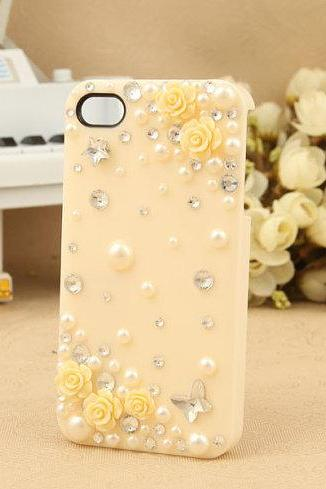 Cute Bling iphone 4 case rose iphone 4s case iphone case
